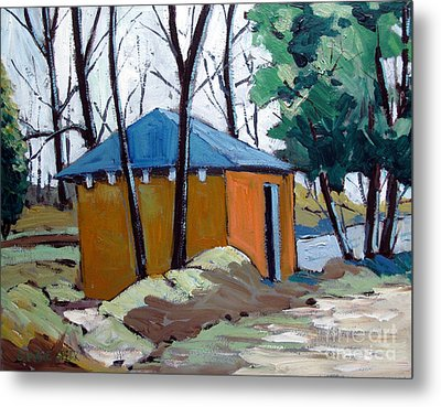 Old Golf Course Shed No.5 Metal Print by Charlie Spear