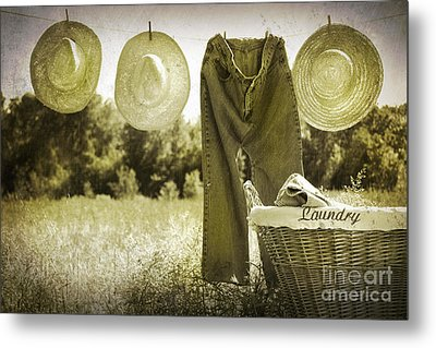 Old Grunge Photo Of Jeans And Straw Hats  Metal Print by Sandra Cunningham