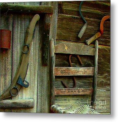 Old Hanging Ladderback Metal Print by Julie Dant