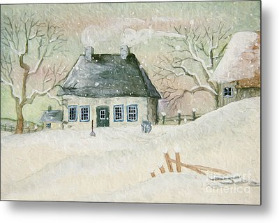 Old House In The Snow/ Painted Digitally Metal Print by Sandra Cunningham