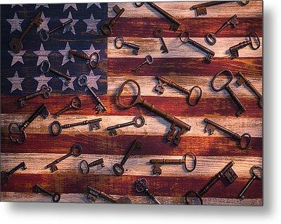 Old Keys On American Flag Metal Print by Garry Gay