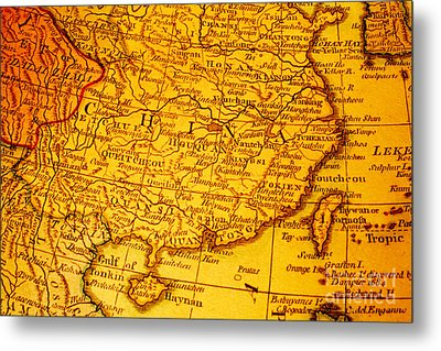 Old Map Of China And Taiwan Metal Print by Colin and Linda McKie