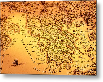 Old Map Of Greece Metal Print by Colin and Linda McKie