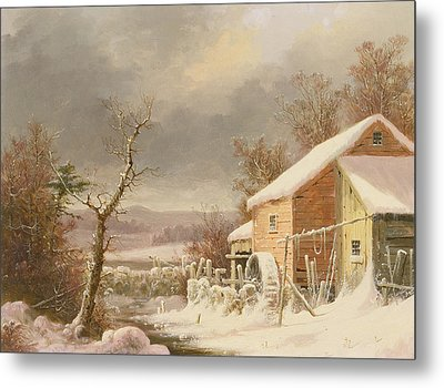 Old Mill In Winter Metal Print by George Henry Durrie