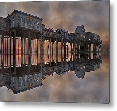 Old Orchard Pier Reflection Metal Print by Betsy Knapp