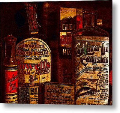 Old Pharmacy Bottles - 20130118 V2b Metal Print by Wingsdomain Art and Photography