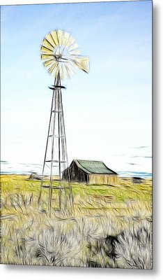 Old Ranch Windmill Metal Print by Steve McKinzie