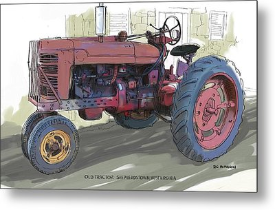 Old Red Farmall Tractor Metal Print by RG McMahon