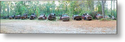 Old Rusty Cars And Trucks In A Field Metal Print by Panoramic Images