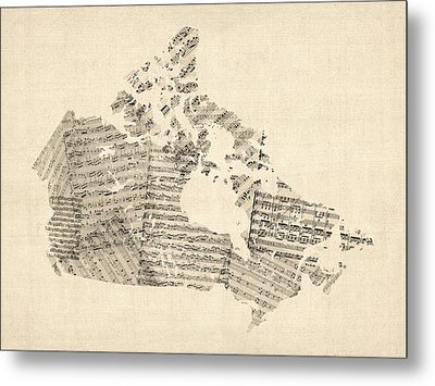 Old Sheet Music Map Of Canada Map Metal Print by Michael Tompsett