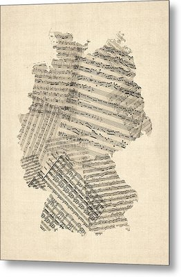 Old Sheet Music Map Of Germany Map Metal Print by Michael Tompsett