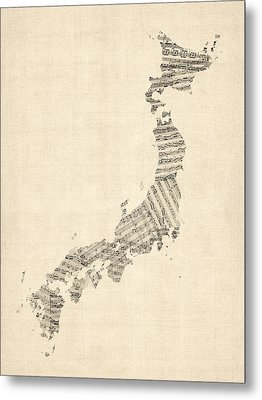 Old Sheet Music Map Of Japan Metal Print by Michael Tompsett