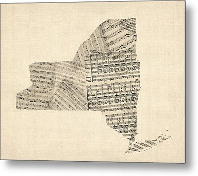 Old Sheet Music Map Of New York State Metal Print by Michael Tompsett