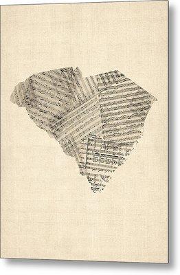 Old Sheet Music Map Of South Carolina Metal Print by Michael Tompsett