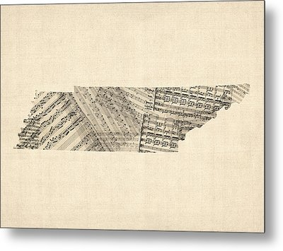 Old Sheet Music Map Of Tennessee Metal Print by Michael Tompsett