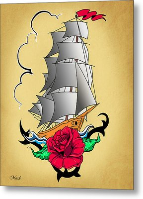 Old Ship Tattoo  Metal Print by Mark Ashkenazi