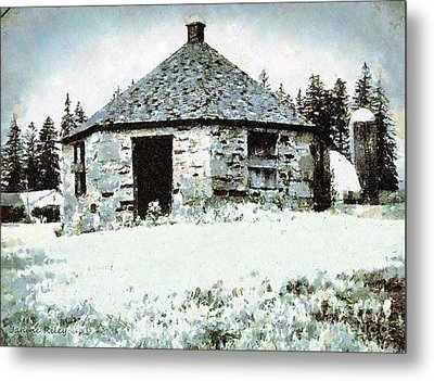 Old Stone Schoolhouse In Winter - South Canaan Metal Print by Janine Riley