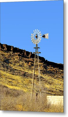 Old Texas Farm Windmill Metal Print by Christine Till