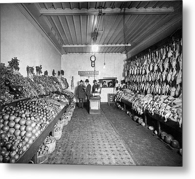 Old Time Grocery Store Metal Print by Underwood Archives