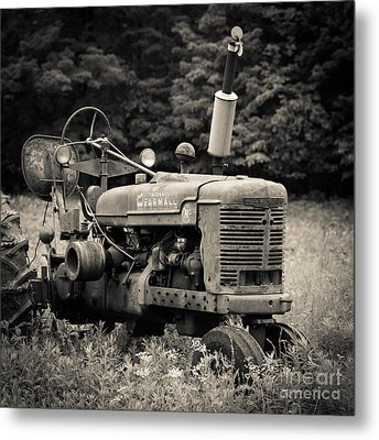 Old Tractor Black And White Square Metal Print by Edward Fielding