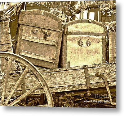 Old Trunks In Genoa Nevada Metal Print by Artist and Photographer Laura Wrede
