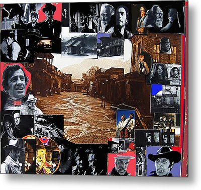 Old Tucson Arizona Composite Of Artists Performing There 1967-2012 Metal Print by David Lee Guss