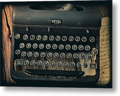 Old Typewriter With Letter Metal Print by Garry Gay