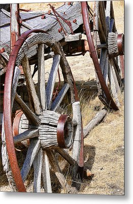 Old Wagon Wheels From Montana Metal Print by Jennie Marie Schell