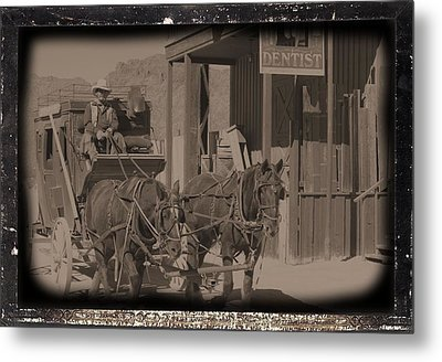 Old West Stagecoach Metal Print by David Rizzo