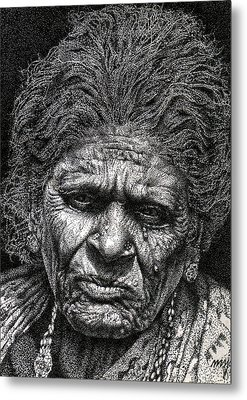 Old Woman In Sad Metal Print by Johnson Moya