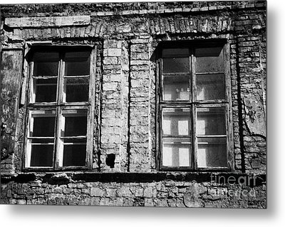 Old Wooden Double Layer Glazing In Old Red Brick Building With Plaster Facade Removed For Renovation Kazimierz Krakow Metal Print by Joe Fox