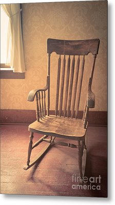 Old Wooden Rocking Chair Metal Print by Edward Fielding