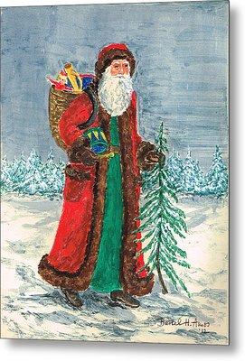 Old World Father Christmas 5 Metal Print by Barbel Amos