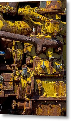 Old Yellow Motor Metal Print by Garry Gay