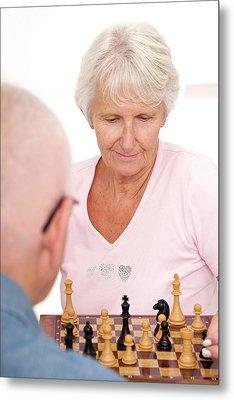 Older Couple Playing Chess Metal Print by Lea Paterson
