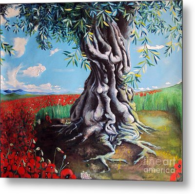 Olive Tree In A Sea Of Poppies Metal Print by Alessandra Andrisani