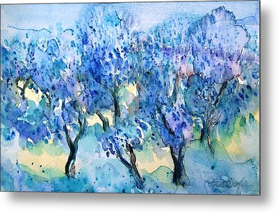 Olive Trees In A Tuscan Garden  Metal Print by Trudi Doyle