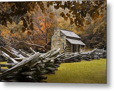 Oliver's Log Cabin During Fall In The Great Smoky Mountains Metal Print by Randall Nyhof