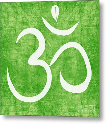 Om Green Metal Print by Linda Woods