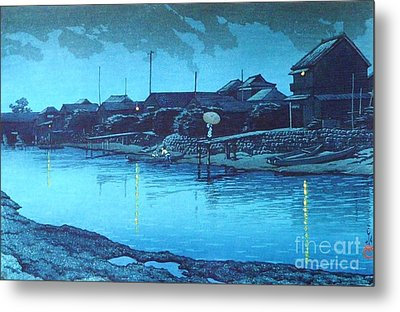 Omori Beach At Night Metal Print by Pg Reproductions