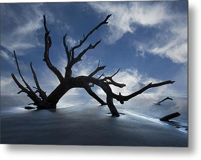 On A Misty Morning Metal Print by Debra and Dave Vanderlaan