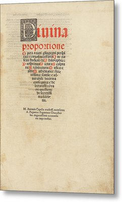 'on The Divine Proportion' (1509) Metal Print by Library Of Congress