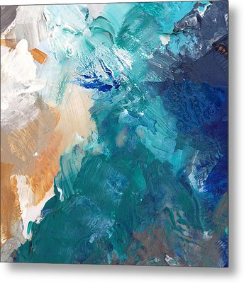 On A Summer Breeze- Contemporary Abstract Art Metal Print by Linda Woods