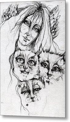 One Angel Three Cats Metal Print by Angel  Tarantella