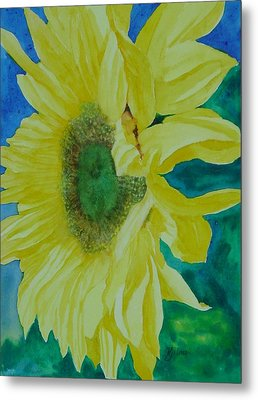 One Bright Sunflower Colorful Original Art Floral Flowers Artist K. Joann Russell Decor Art  Metal Print by K Joann Russell
