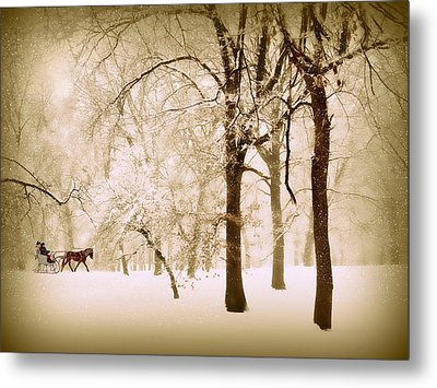 One Horse Open Sleigh Metal Print by Jessica Jenney