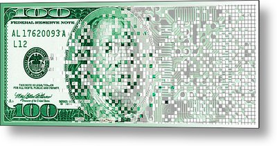One Hundred Dollar Bill Turning Digital Metal Print by Panoramic Images