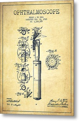 Ophthalmoscope Patent From 1915 - Vintage Metal Print by Aged Pixel