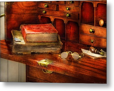 Optometrist - Glasses - The Secretary Metal Print by Mike Savad