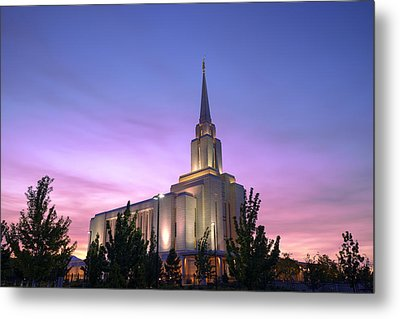 Oquirrh Mountain Temple Iv Metal Print by Chad Dutson